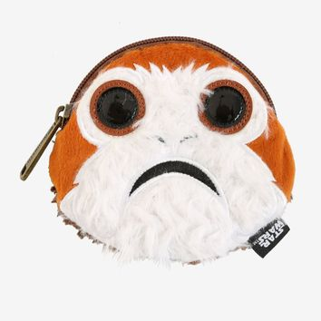 "Licensed cool Star Wars Disney The Last Jedi Faux Fur Porg Face Plush Zip Coin Purse 5""x4 1/2"""