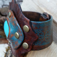 Handmade Ladies Leather Cuff with Synthetic Turquoise Stone - Stamped and Tooled - Antiqued Brass Rivets with Gunmetal Snaps