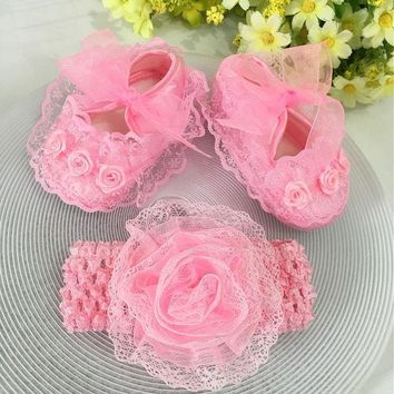 ESBONJ Kids flowers Shoes  Girl Princess Lace Headband Cute Infant Girl Toddler Shoes Set Newborn Photography Props 5TX14