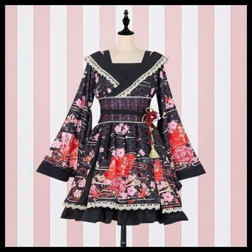 Japanese Style Wa Lolita Dress Floral Printed Kimono Long Sleeve Dress
