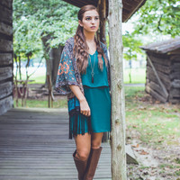 Layered Dress in Hunter Green