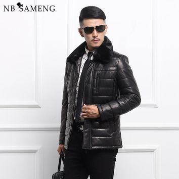 2017 New Winter Mens Genuine Leather Down Jackets Brand Clothing Black Sheepskin Mink Jacket and Coat with Turn-down Collar 4XL
