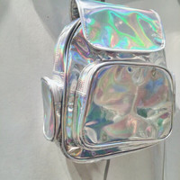 Holographic Backpack Silver Hologram Rucksack Kit Bag