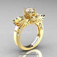 Art Masters Classic Winged Skull 14K Yellow Gold 1.0 Ct White Sapphire Diamond Solitaire Engagement Ring R613-14KYGDWS