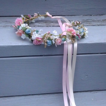 wedding hair accessories headwreath AmoreBride hair wreath woodland Bridal crown blue pink halo International ship artificial baby garland