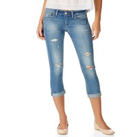 NEW! Medium Wash Destroyed Double-Roll Denim Capris - Aeropostale