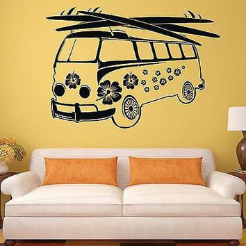 Wall Sticker Hippie Vans Bus Mobil Art Mural Vinyl Decal Unique Gift (ig1934)