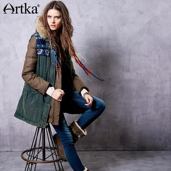 Artka Winter Parka Female Two-Piece Jacket Drawstring Waist Down Coat Women Hooded Raincoat Woolen Waistcoat Outerwear ZK13643D