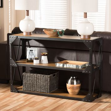 Baxton Studio Hudson Rustic Industrial Style Antique Black Textured Finished Metal Distressed Wood Occasional Console Table Set of 1