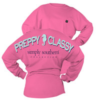 Simply Southern Preppy Classy Seahorse Sweeper Long Sleeve Oversized Top Pocket Shirt Jersey