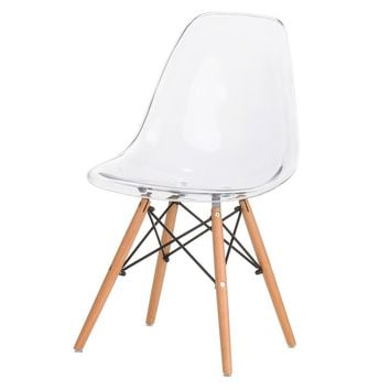 Eames Style Side Chair, Clear