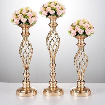 10PCS Flowers Vases Candle Holders Road Lead Table Centerpiece Metal Gold Stand Pillar Candlestick For Wedding Candelabra