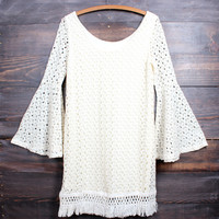 bohemian crochet lace bell sleeve dress - natural