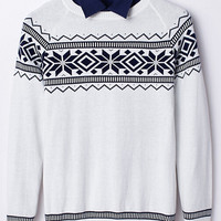 White Graphic Knitted Sweater