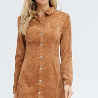 Study Break Mini Dress in Camel