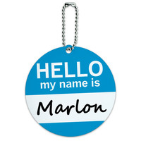 Marlon Hello My Name Is Round ID Card Luggage Tag