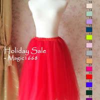 2016 Women Tulle Skirt Full Red Tea Tutu Skirt Elastic Plus Wedding Skirt Women Fashion Tutu Skirt Adult Tulle Skirt Full Red Skirt(T1822)