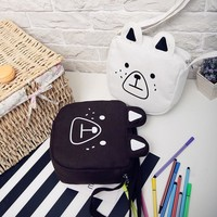 New Cute Korea ulzzang preppy style bear canvas shoulder bag square bag