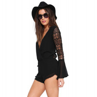 Black Ruffled Lace Long Sleeve V-neck Romper