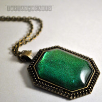 DECEMBER FEATURED NECKLACE: the Lady Mary pendant in Tudor Setting - Jewelry Nail Polish Green Gift Under 20 Teen Holiday free shipping