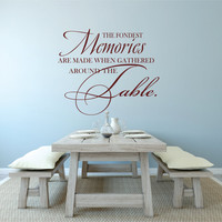 Dining Room Decal, Family Wall Decal, Dining Table Decal, Dining Decor, The Fondest Memories Are Made Gathered Around The Table