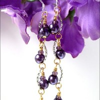 Purple Pearl Silver Plated Curve Beaded Dangle Sterling Silver Earring