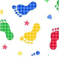 Juvenile Novelty Flannel Fabric Primary Colored Footprints 1/2 yard