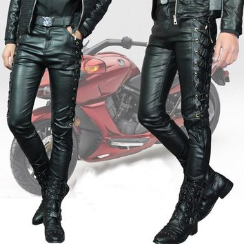 Male Personality leather pants Men's slim thickening white leather pants Men motorcycl