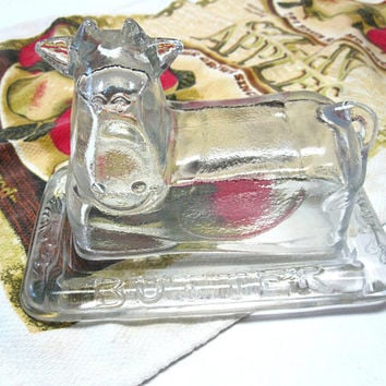 Clear Cow Butter Dish Glass Holder