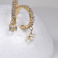 Stone Studded and Crystal Drop Earrings