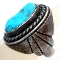 Mens Navajo Turquoise Ring Sterling Silver Vintage