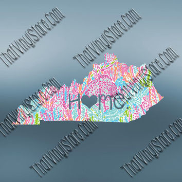 Kentucky Heart Home Decal | I Love Kentucky Decal | Homestate Decals | Love Sticker | Preppy State Sticker | Preppy State Decal | 057