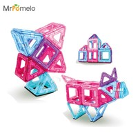MrPomelo Better Builders 30 Pieces First Magnetic Construction Toy Set Magnet Clear Magnetic 3D Building Blocks Toys for Girls