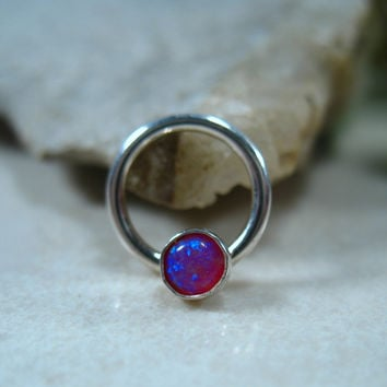 Septum & Nipple Ring Silver MMS09 Fire Opal