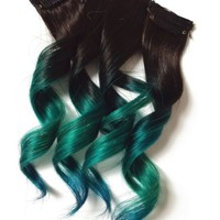 Teal Green Blue 100% Human Hair Clip In Remy Extensions Ombre Dip Dye US Ship