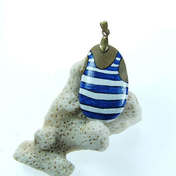 Weird Jewelry Beach Stone Painted Pendant- Singlet with stripes- Original Art Jewelry Wearable Artwork by Artist Blue and White