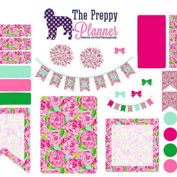 Lilly Pulitzer Inspired Weekly Set Up Impressions Planner Stickers for Filofax , Kikki K, Erin Condren, ECLP   LW08