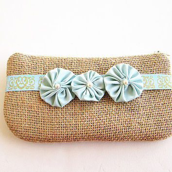 Mint Burlap wristlet -burlap clutch-bridal clutch -bridesmaid clutch- 3 mint flowers.