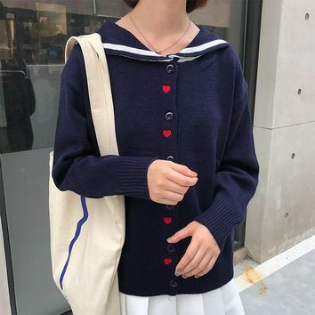 Korean Soft Sister Cute Heart-shaped Embroidery Sailor Collar Cardigans Women Knitted Coats Autumn Long Sleeve Sweaters