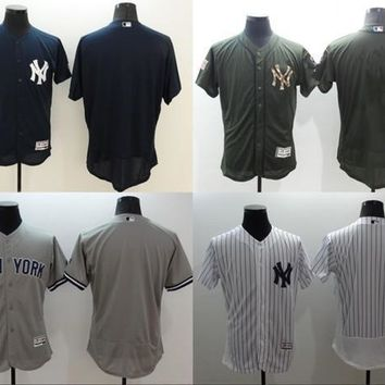 2016 Flexbase New York Yankees Jersey BLANK Jersey White Grey orange green Mens Stitched Authentic Baseball Jersey size S-3XL