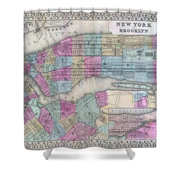 Mitchell Map of New York City and Brooklyn 1882 Shower Curtain