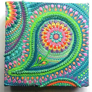 Paisley turquoise/green original mixed media mini canvas by Artichicks. Acrylics, glass beads and sequins on canvas.