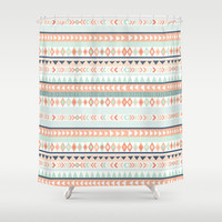 "Mint and Coral Tribal Shower Curtain, 70""x70"""