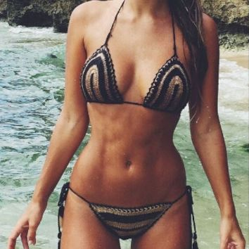 Crochet Embroidered Spaghetti Strap Two Piece Bikini