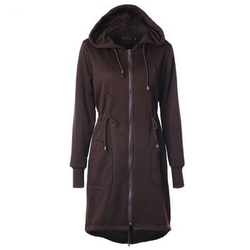 Winter Casual Loose Long Hoodies Straight Drawstring Waist Overcoat Hooded Jackets Cotton Thick Tracksuits
