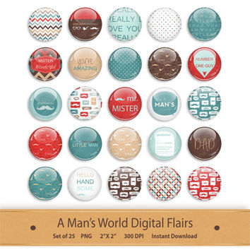 Digital Flairs Clipart Digital Scrapbooking Brads Printable Planner Stickers Graphics Buttons Badges Little Gentleman Boy Man Clip Art Red
