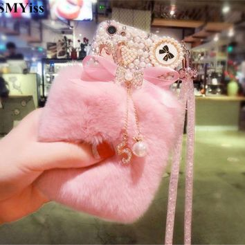 XSMYiss Luxury Diamond Pearl Bowknot Tassel Warm Soft Fur Rabbit Fur Hair Case For iphone X 5S 5C 6 6S 7 8 Plus Phone Case