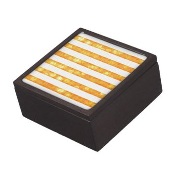 Bokeh Stripes Orange And White Jewelry Box