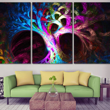 Abstract Tree Photo on Canvas - Psychedelic Tree Printable Wall Art, Mysterious Abstraction Large Canvas Print for Home or Office Decoration