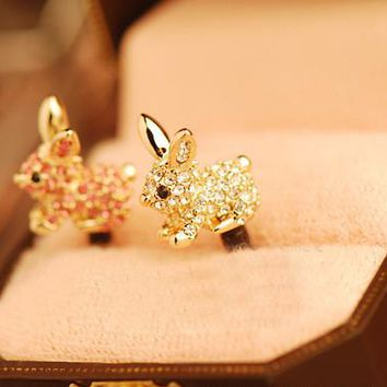 Cute Rabbit With Diamond Dustproof Plug Caps Cell Phone Accessories 3.5mm Earphone Dust Plug Dachshund For Iphone For Samsung